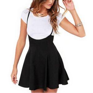 Women-Suspender-Mini-Skater-Skirt-High-Waisted-Pleated-Dress-Adjustable-Strap