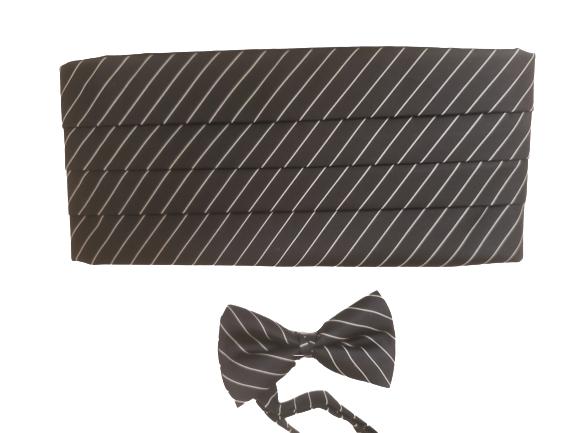 New Black Silver adjustable Cummerbund Sash Bow Tie Tuxedo Tuxxman