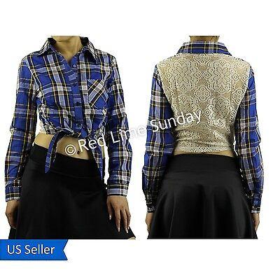 Blue Tartan Check Self Tie Front Button Shirt Crochet Panel Detail Floral Boho