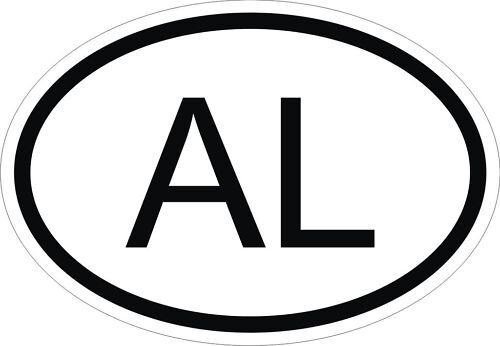 AL ALBANIA COUNTRY CODE OVAL STICKER bumper decal car