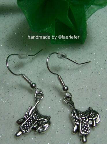 Cute saddles Earrings perfect stocking filler for horse rider silver plated wire