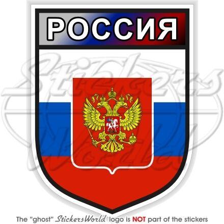 """FEDERAZIONE Russa Russia SCUDO 100mm in Vinile Adesivo Decalcomania 2/"""""""
