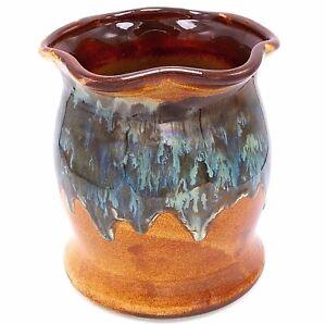 """Utensil Holder Vase Studio Pottery Drip Glaze Green Brown Blue 7"""" Signed Hinton"""