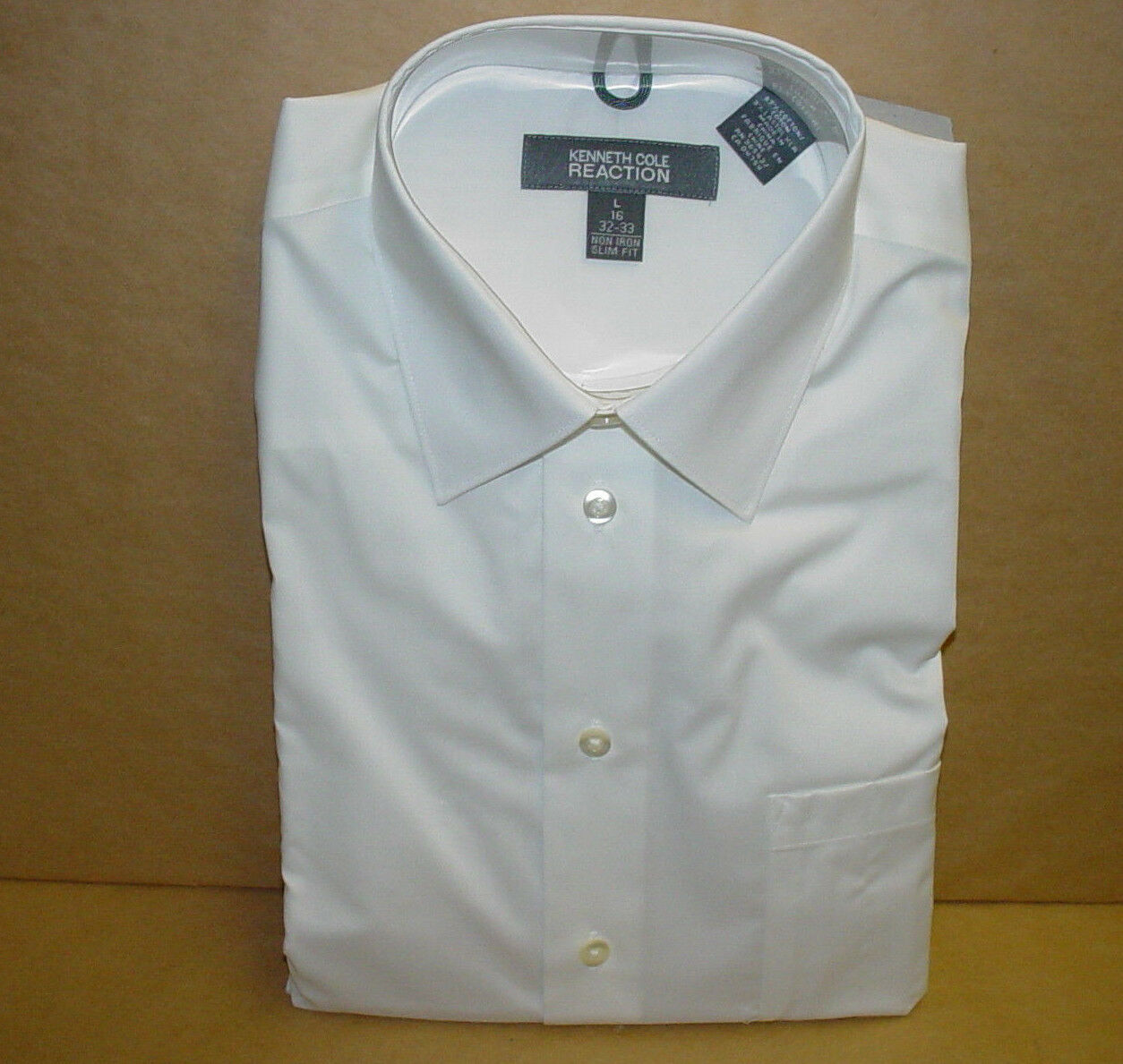 NEW KENNETH COLE REACTION LONG SLEEVE DRESS SHIRT SLIM FIT FOR MEN'S LARGE