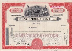 Vintage stock certificate Chas Pfizer /& Co Delaware 1960 Back with tax stamps
