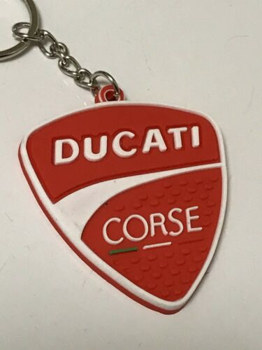 Red /& White motorcycle keychain Rubber Ducati Corse Last One