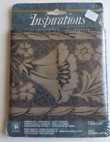 Inspirations Wall Border Wallpaper Black Gray Floral Scroll Khaki Gold Accent