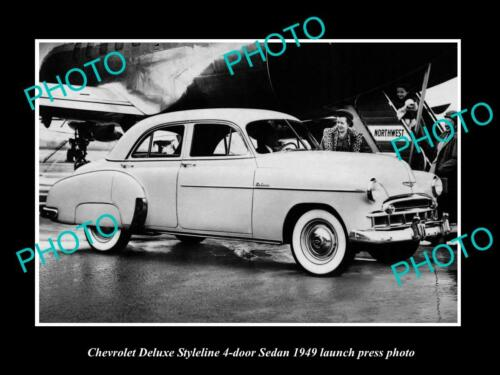 OLD 8x6 HISTORIC PHOTO OF 1949 CHEVROLET DELUXE STYLELINE LAUCH PRESS PHOTO