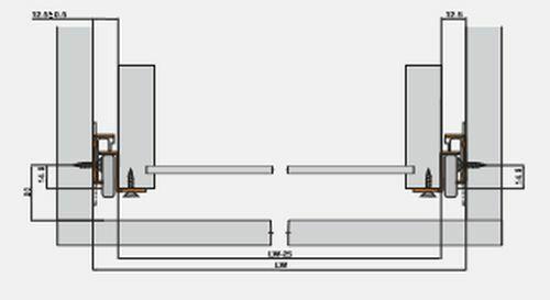 Metal Roller Bottom Fix Drawer Runners White 300mm