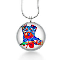 Yorkie Dog Necklace - Animal Gift - Gifts For Her - Colorful , Fun Jewelry, Pet