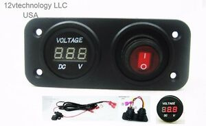 12V-Battery-Bank-Voltmeter-Monitor-RV-Marine-House-Starting-Wired-Switch-Red