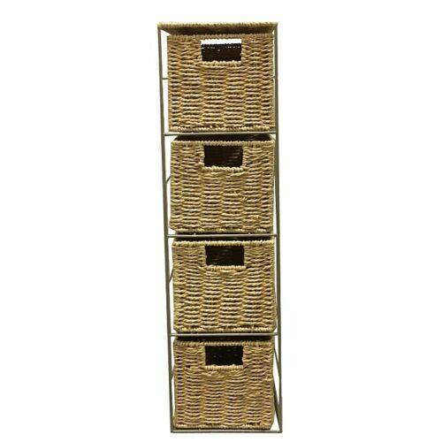 Natural Rope Storage Unit for Bathroom Bedroom 4 Drawers Delivered Assembled