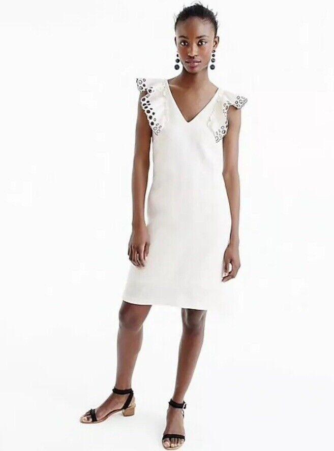 NEW JCrew Collection Ruffle-Shoulder Sheath Dress Größe 4 Ivory G6252