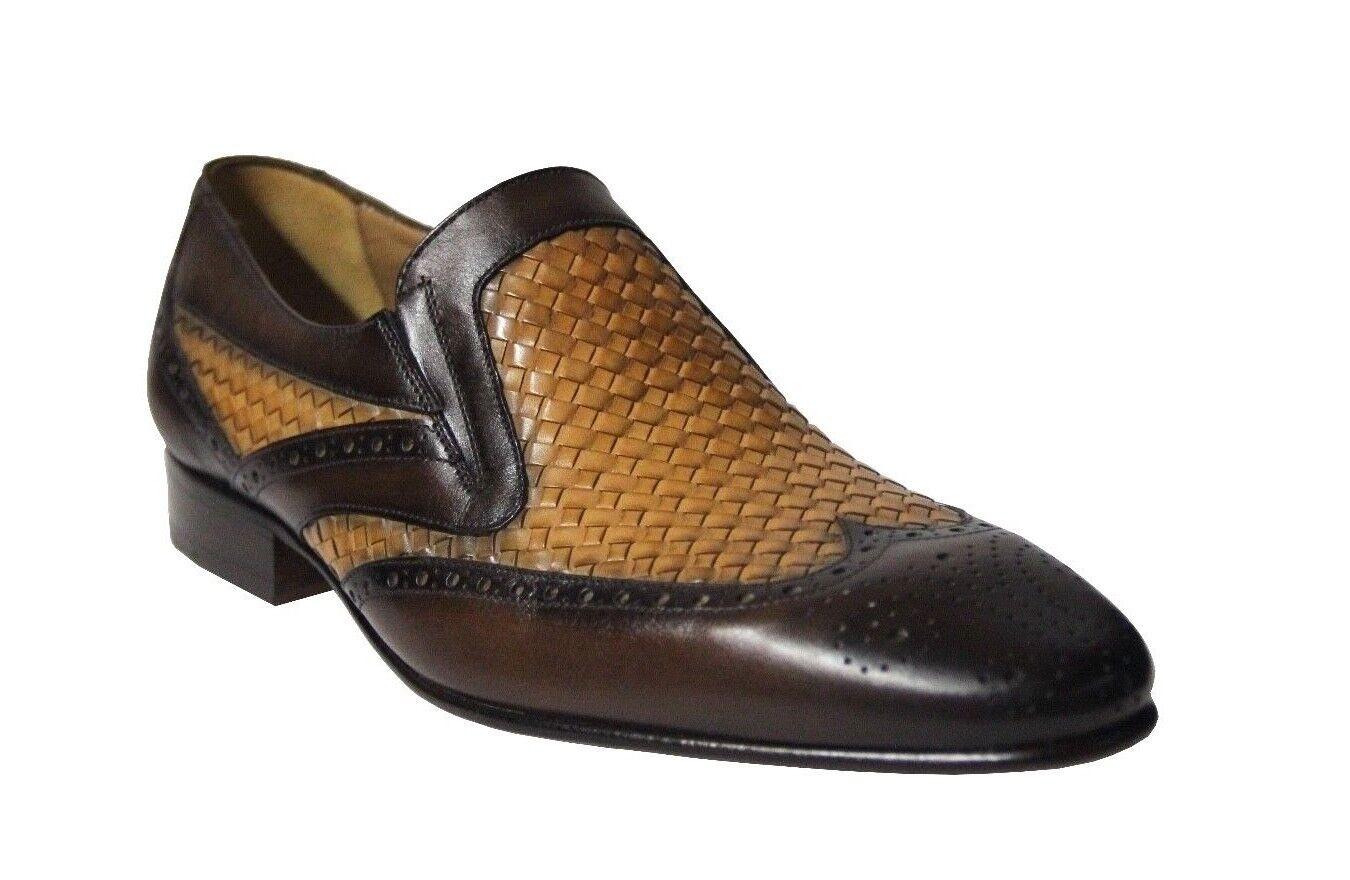 Mister Para Hombre Slip On Marrón Oscuro Vestido De Cuero Tostado Zapatos 36809 hecho en España