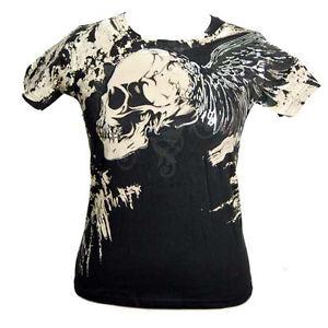 Men-039-s-Foil-Winged-Skull-Artful-Couture-Printed-Black-Short-Sleeved-Tshirt-Top