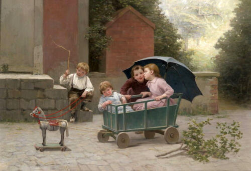 Dream-art Oil painting Childhood fun children on the carriage cockhorse in view