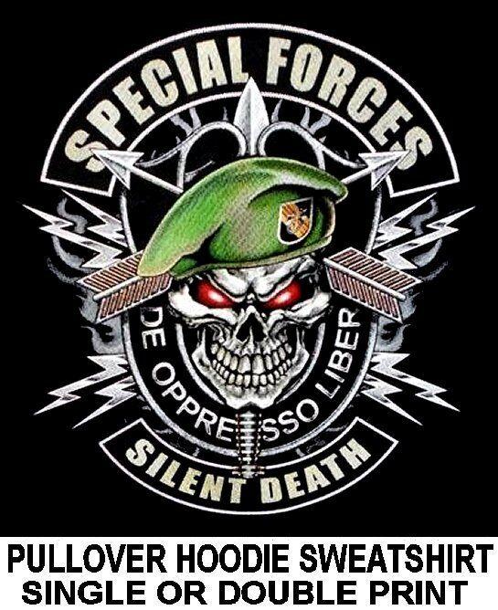 AMERICAN PRIDE US ARMY SPECIAL FORCES SILENT DEATH SKULL HOODIE SWEATSHIRT WS135