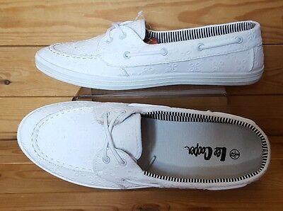 Lee Cooper Negro/blanco en relieve de tela Damas Moda Informal Zapatos Planos * Nuevo