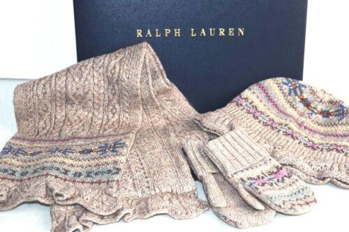 Nouvelle Boîte Ralph Lauren Filles 3 Pièces Fair Isle Écharpe Tricot Chapeau