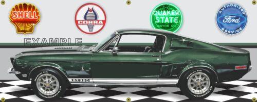 1968 SHELBY COBRA GT350-H HERTZ GREEN CAR GARAGE SCENE BANNER SIGN ART 2/' X 5/'