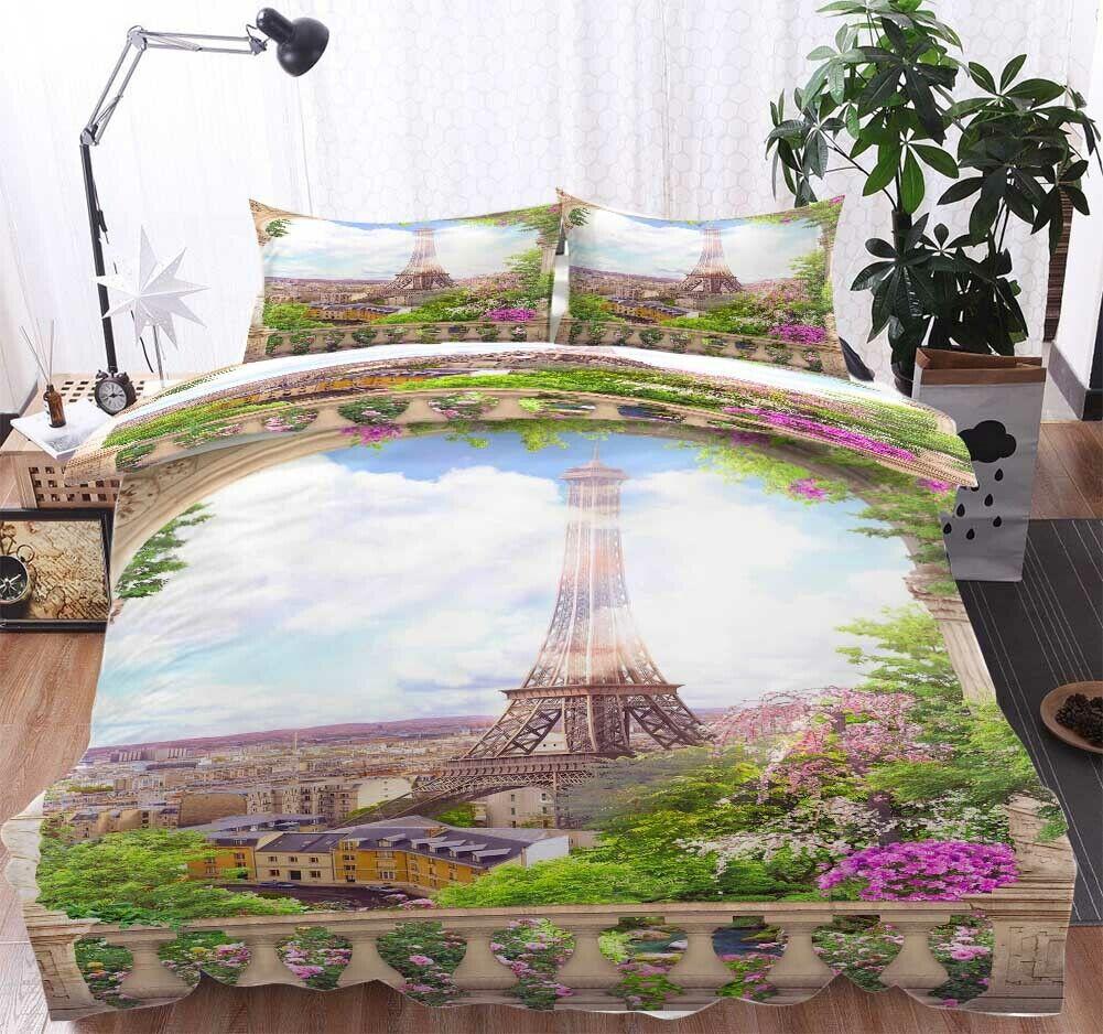 Iron Tower lila 3D Druckening Duvet Quilt Will Startseites Pillow Case Bettding Sets