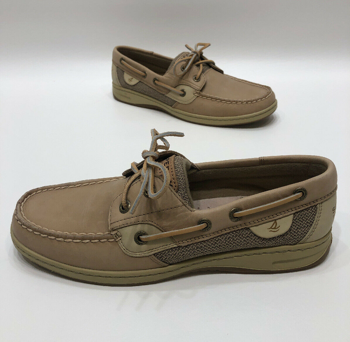 Sperry Top Sider Two Eye Boat Shoes Light Tan Leather Size 8.5 M