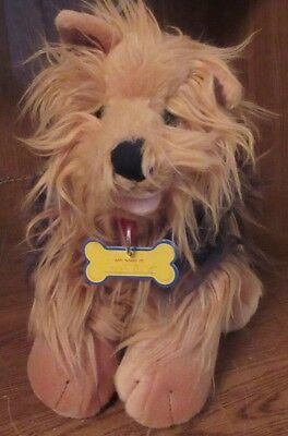 """BUILD A BEAR BROWN YORKIE YORKSHIRE TERRIER PLUSH 12""""X14"""" PUPPY DOG W/RED COLLAR"""
