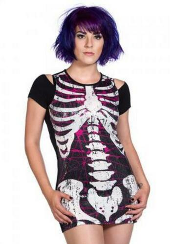 alternative official merchandise Gothic Banned Apparel Sequin Ribcage dress