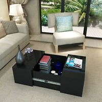 Panana High Gloss Coffee Table Storage Square Small Modern Living Room Black
