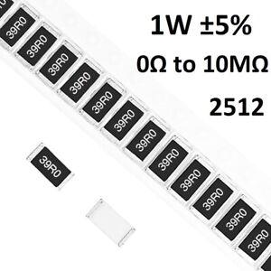 5025 5mm×2.5mm 20PCS 1 ohm Ω 1R0 5/% 3//4W SMD Chip Resistor 2010