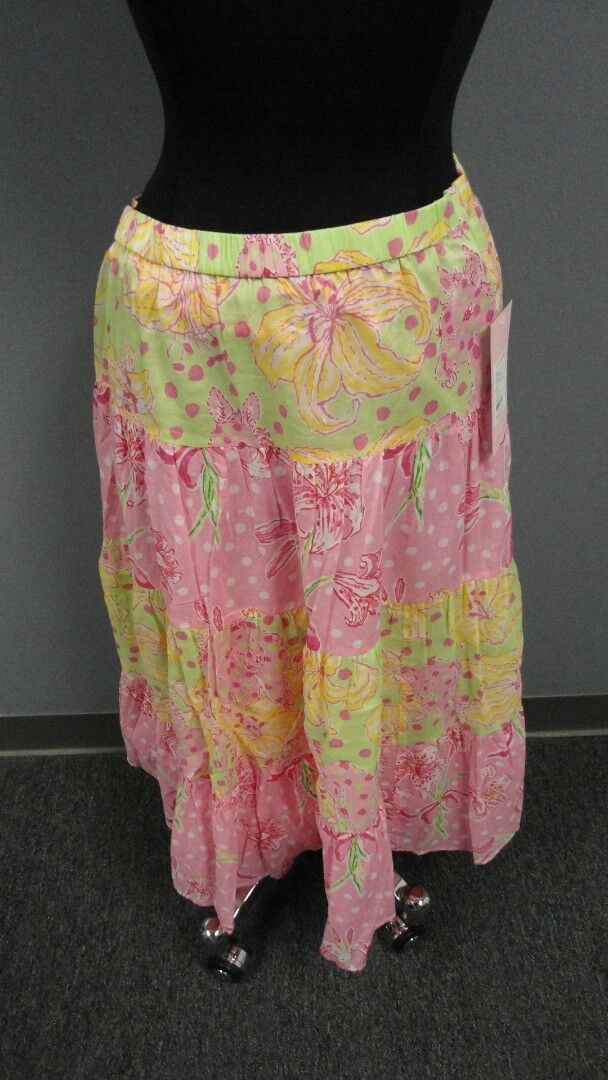 LILLY PULITZER NWT Pink Green Yellow Floral Cotton 4 Tier Shopper Skirt M FF1623
