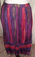 Vintage Mervyns Old Stock Striped Gypsy Boho Rayon Maxi Skirt India Sz S