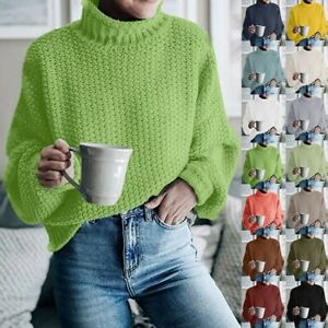 Women-039-s-Turtle-Neck-Baggy-Tops-Chunky-Knitted-Pullover-Sweater-Jumper-Knitwear