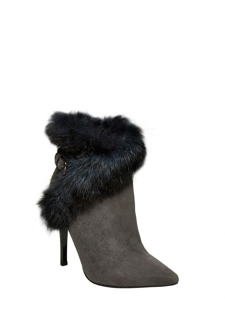 Alice + Olivia Denyson Suede Booties Gray NIB NWT 560 Size 39.5 9.5 9 1/2