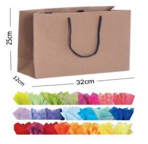Brown-Kraft-recycle-Paysage-boutique-shop-Sacs-Cadeau-Corde-Poignee-Sac-amp-tissu