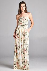 Sexy-Maxi-Boho-Ivory-Floral-Strapless-Dress-Vanilla-Bay-S-M-or-L