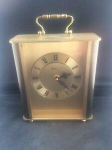 Vintage-AVIA-Working-1970s-Heavy-Brass-Quartz-Clock-German-HERMLE-movement