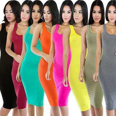 Summer Women Basic Sundress Bodycon Sexy Knee Length Wrap Dress Long Tank Top XL