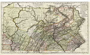 Details about HUGE 1797 PA MAP WASHINGTON ALLEGHENY WESTMORELAND County  Pennsylvania SURNAMES