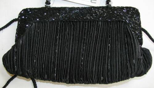 Décoration Main Neuf À W Artisanat Soirée Sac Menbur Perle Noir Plissé 00nBzq