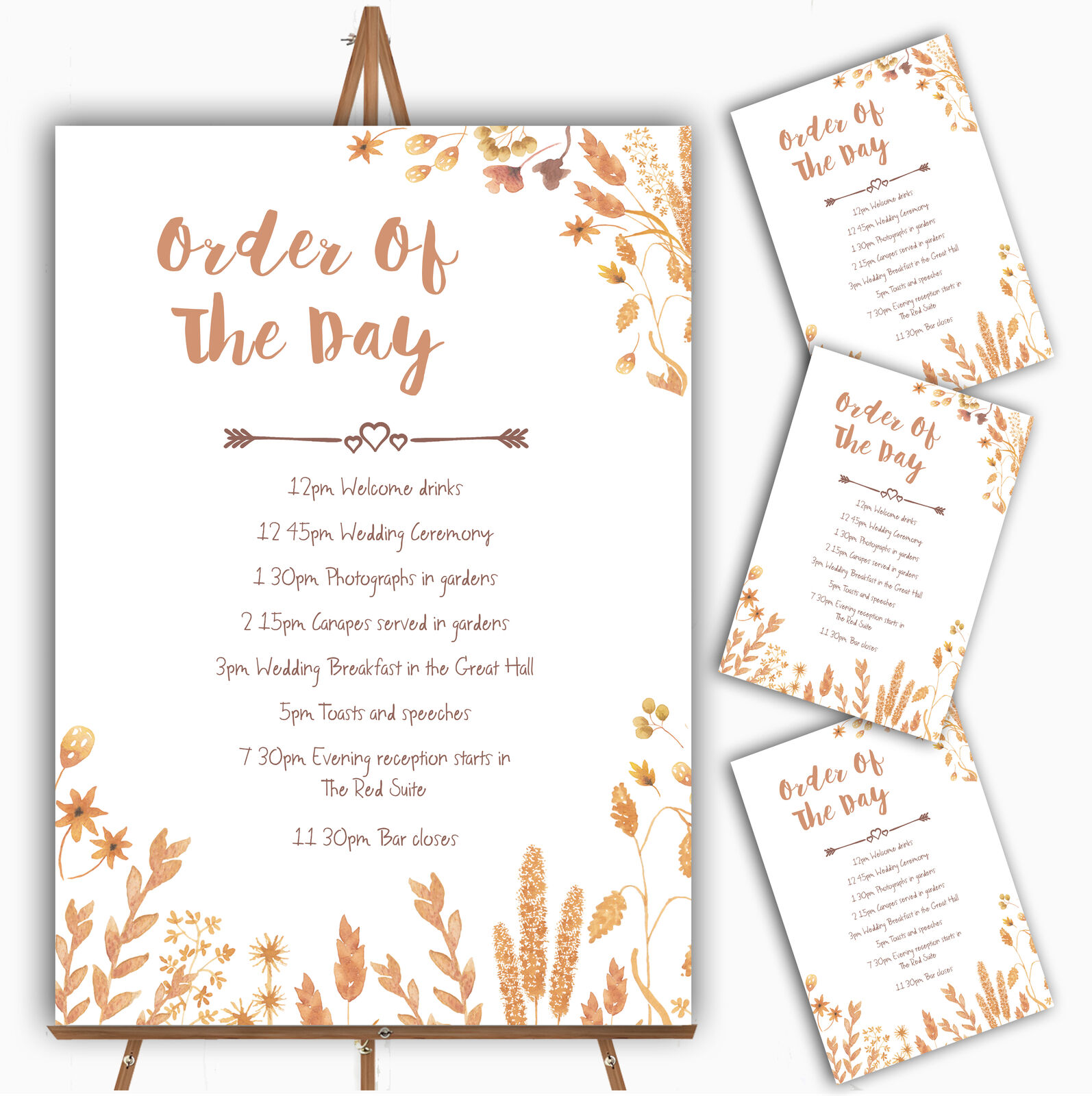 Golden Autumn Leaves Watercolour Personalised Wedding Order Of The Day Cards