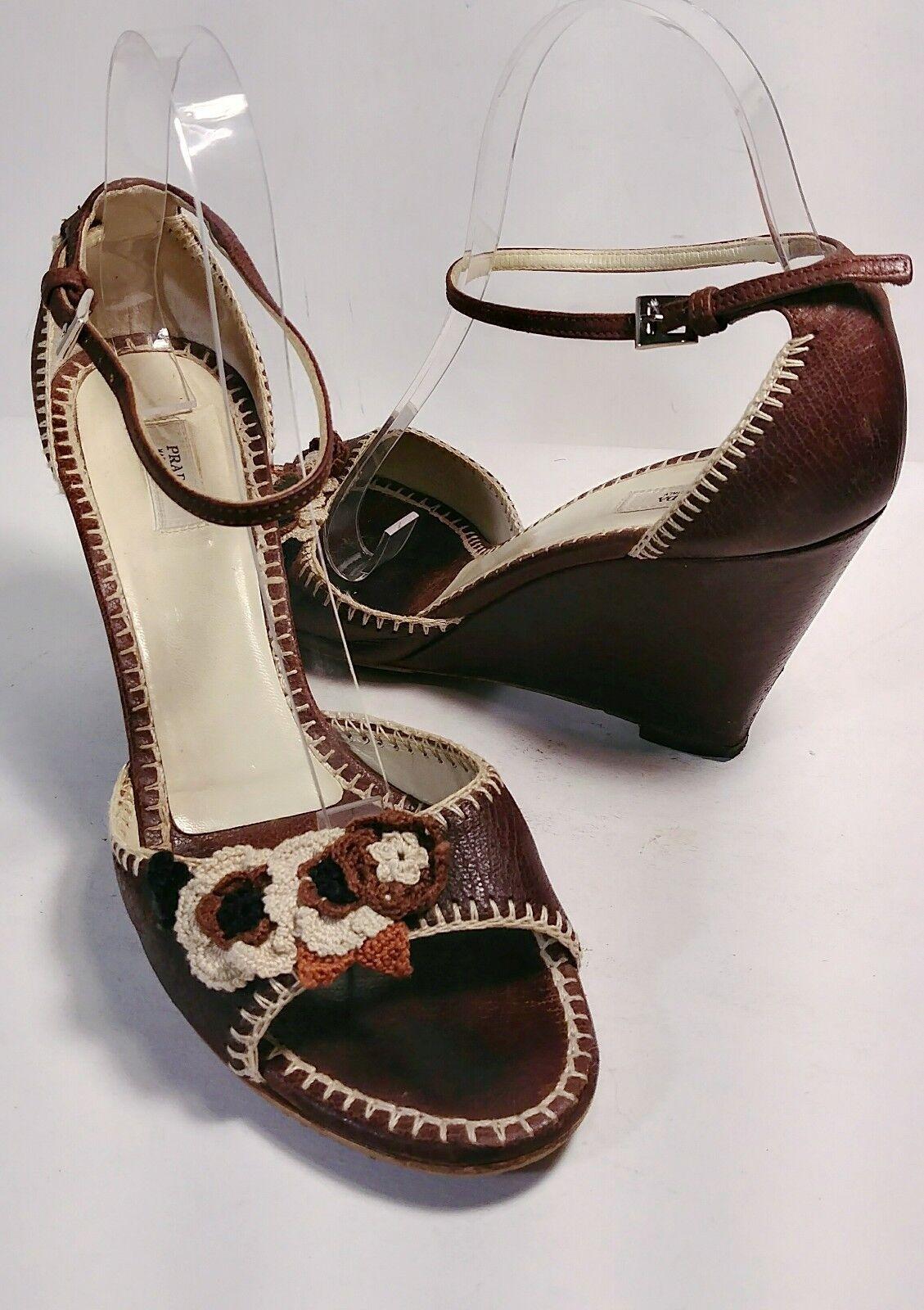 PRADA Brown Leather Crochet Flower Wedge Heel Sandals Women's Size US 7.5 EU 38