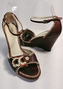 7f082cda5463 Image is loading PRADA-Brown-Leather-Crochet-Flower-Wedge-Heel-Sandals-