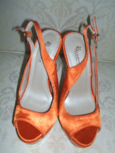 Occasion Brevet Satin 5 Bnwb Orange Occasion Sandales Taille 3 Chaussures Slingback qP8Uw4a