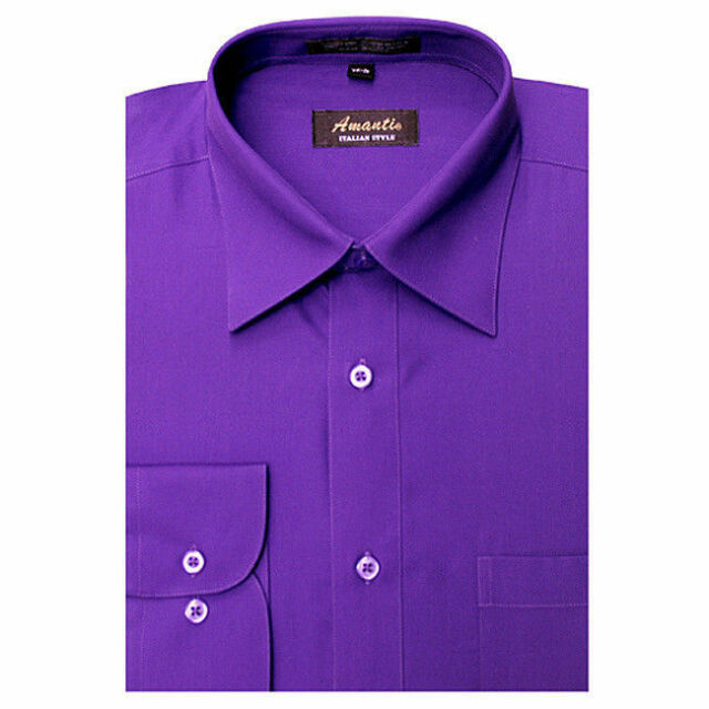 Mens Dress Shirt Plain Purple Modern Fit Wrinkle-Free Cotton Blend Amanti