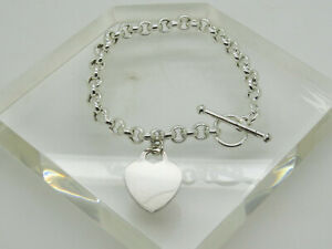 Vintage Sterling Silver 925/& 14K Yellow Gold Round Charm  Rolo Bracelet.