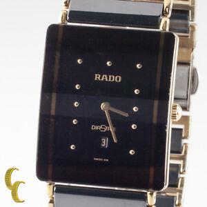 Rado-Men-039-s-Diastar-Ceramic-amp-Gold-Plated-Quartz-Watch-w-Date-Feature