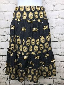 Women-039-s-C3P0-Droid-Star-Wars-Black-and-Gold-Skirt-Geek-Chic-Nerd-Sz-Medium