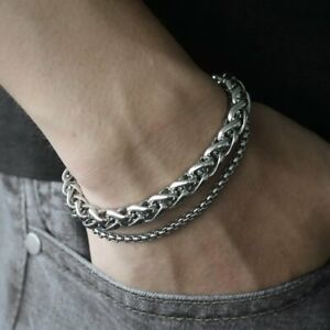 Fashion-Men-039-s-Stainless-Steel-Double-Chain-Link-Bracelet-Wristband-Bangle-Punk