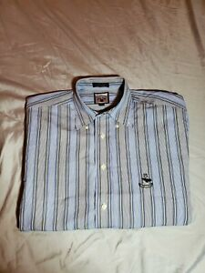 Faconnable logo Mens Dress Shirt size MEDIUM  blue gray white striped